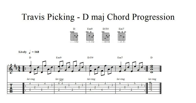 Travis Pickong - D maj Chord Progression
